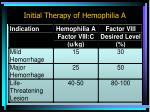 initial therapy of hemophilia a