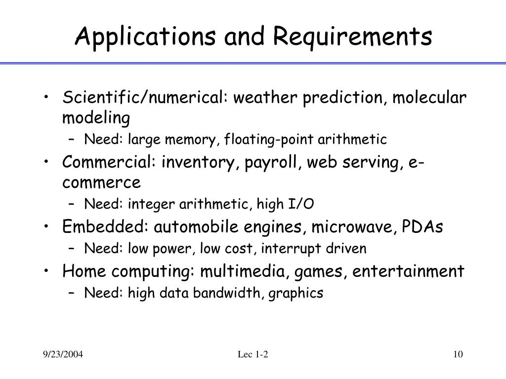 Applications and Requirements