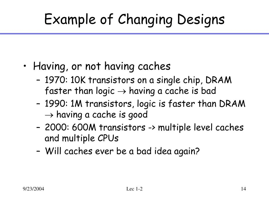 Example of Changing Designs