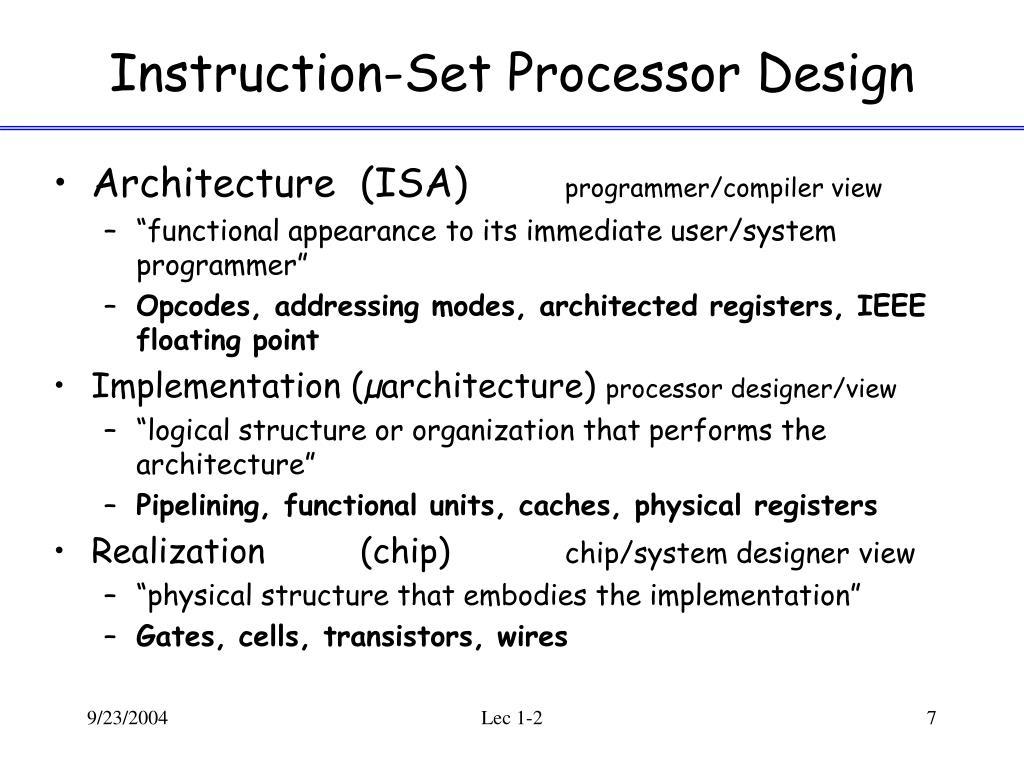 Instruction-Set Processor Design