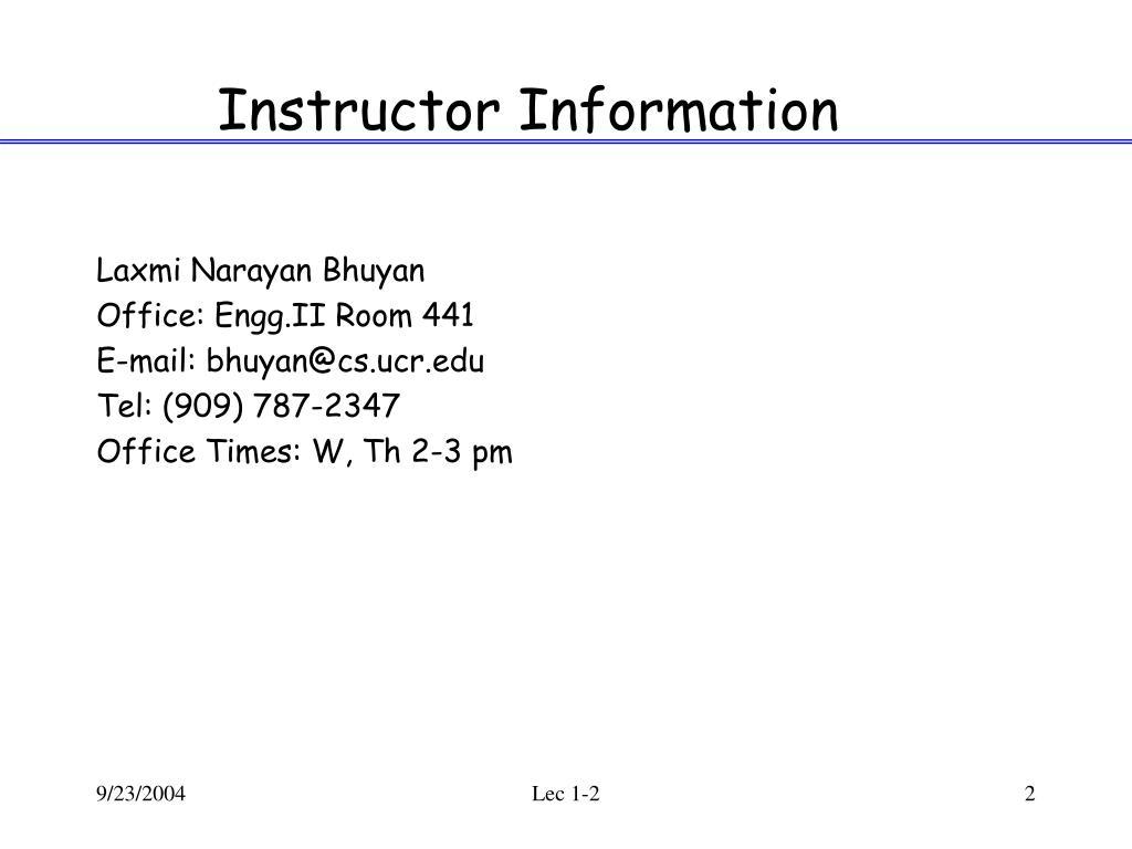 Instructor Information