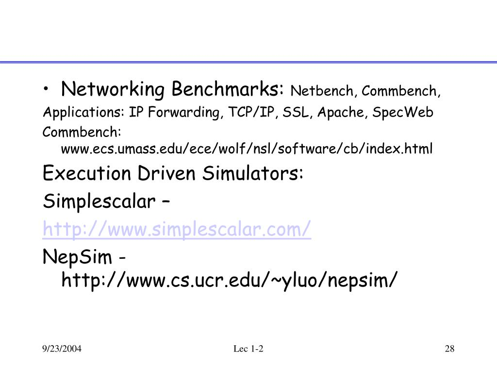 Networking Benchmarks: