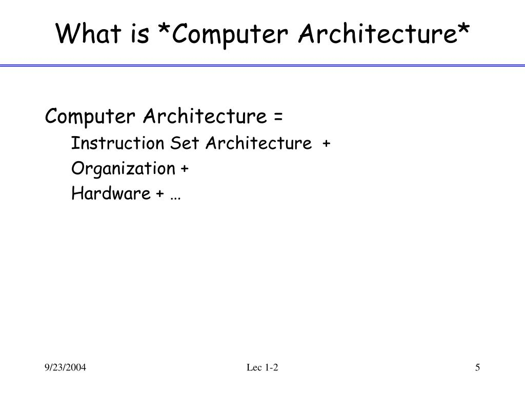 What is *Computer Architecture*