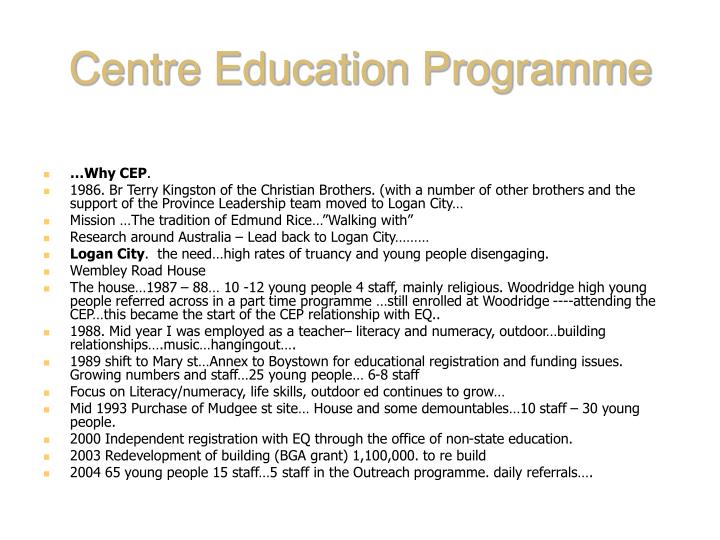 Centre education programme