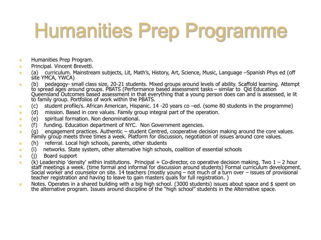 Humanities Prep Programme