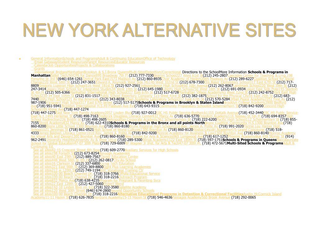 NEW YORK ALTERNATIVE SITES