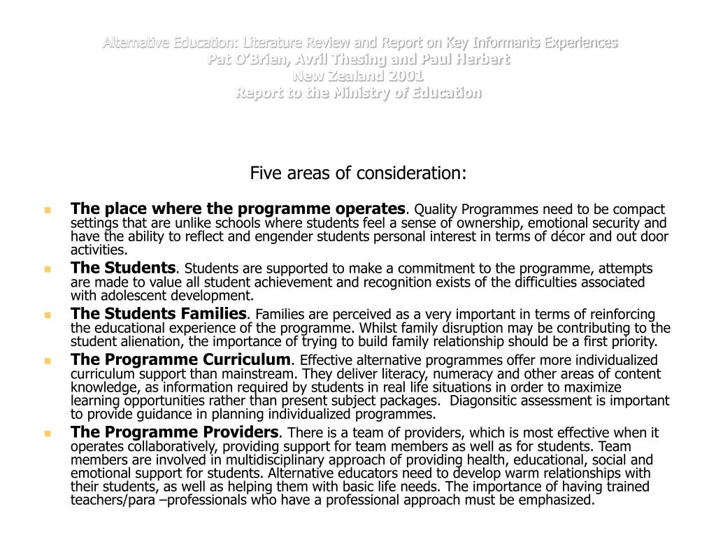 Alternative Education: Literature Review and Report on Key Informants Experiences