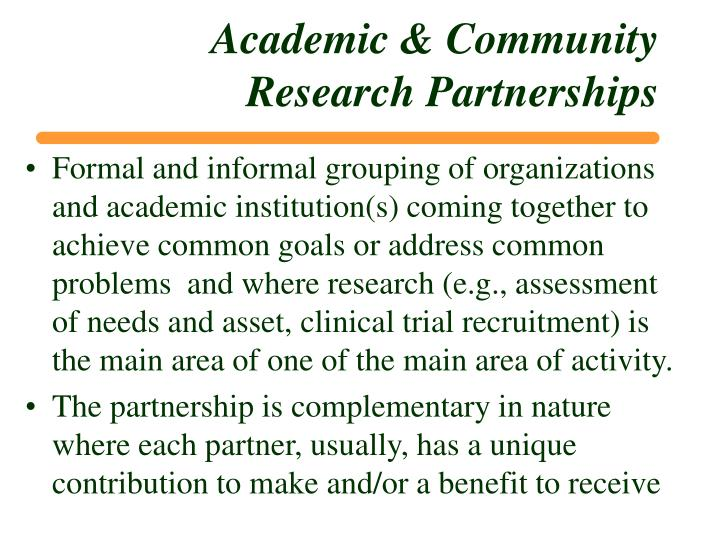 Academic & Community Research Partnerships