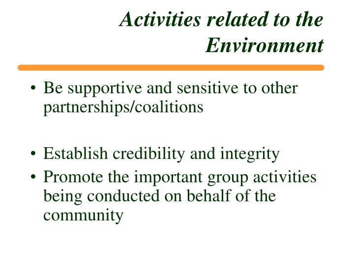 Activities related to the Environment