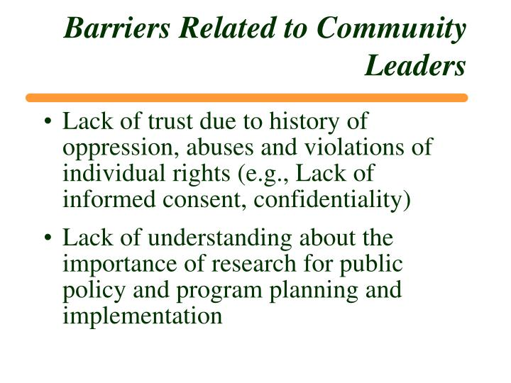 Barriers Related to Community Leaders