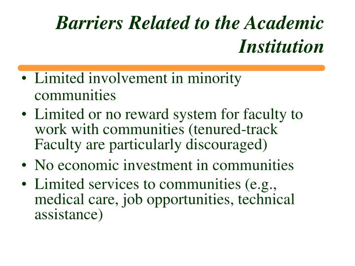 Barriers Related to the Academic Institution
