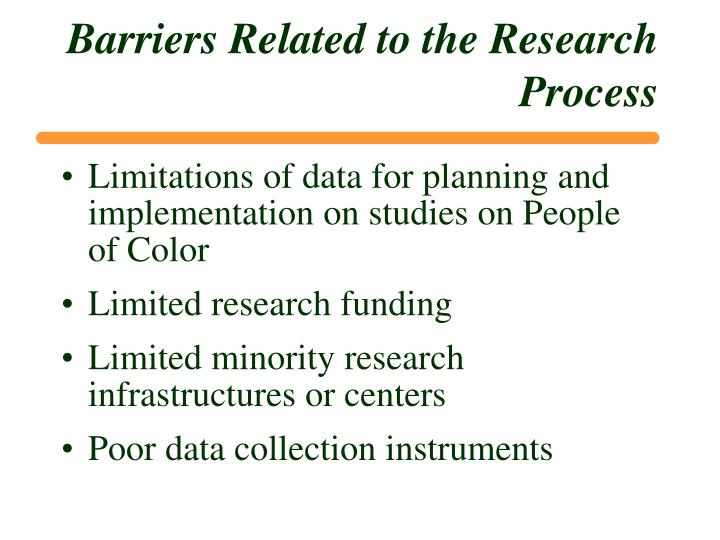 Barriers Related to the Research Process