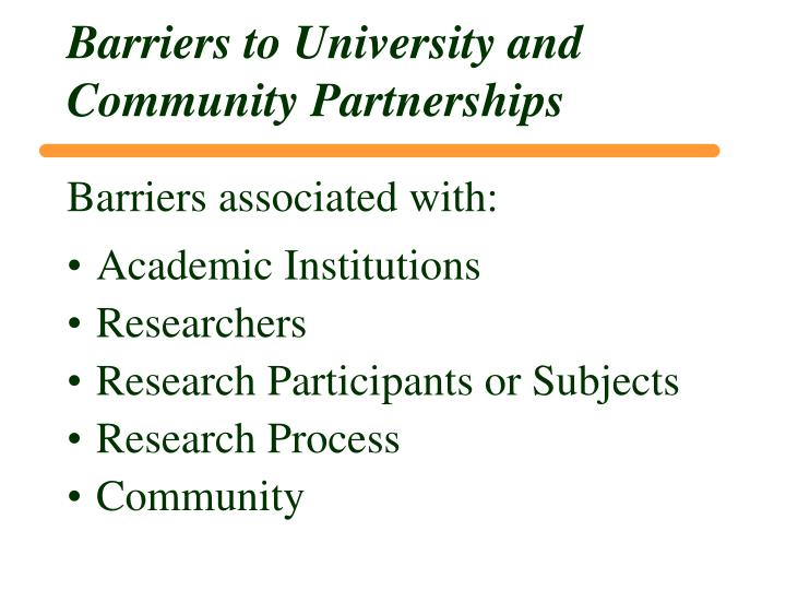 Barriers to University and Community Partnerships