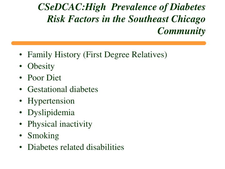 CSeDCAC:High  Prevalence of Diabetes Risk Factors in the Southeast Chicago Community