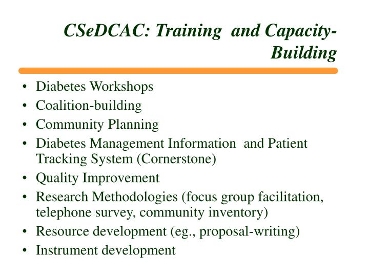 CSeDCAC: Training  and Capacity-Building