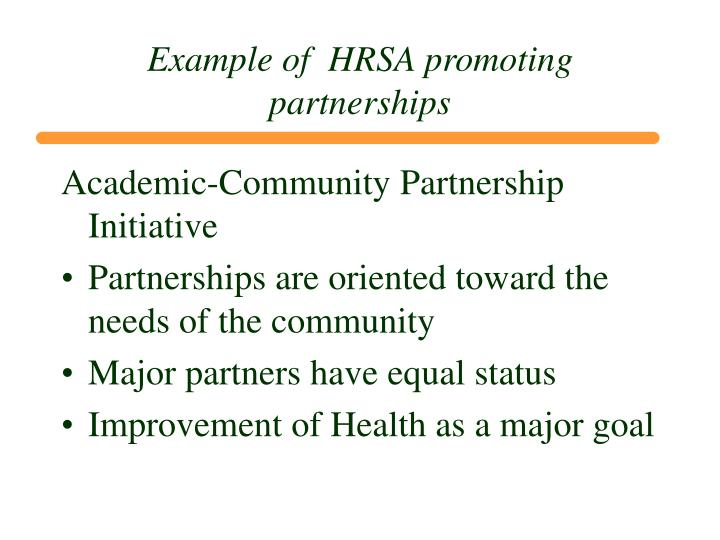 Example of  HRSA promoting partnerships