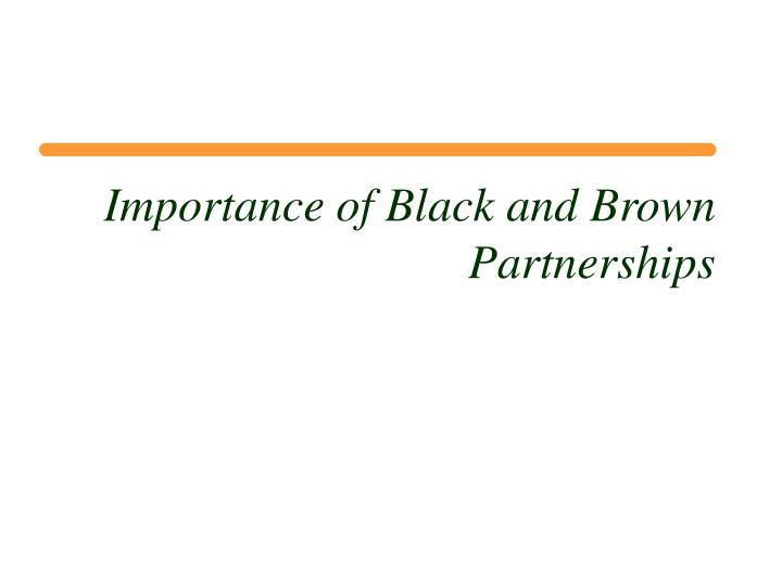 Importance of Black and Brown Partnerships