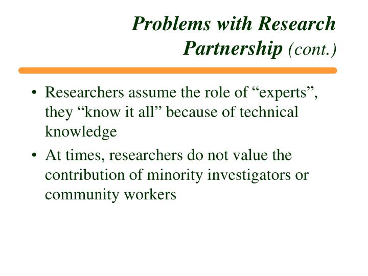 Problems with Research Partnership