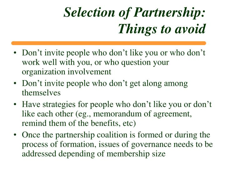 Selection of Partnership:
