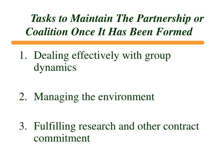 Tasks to Maintain The Partnership or Coalition Once It Has Been Formed