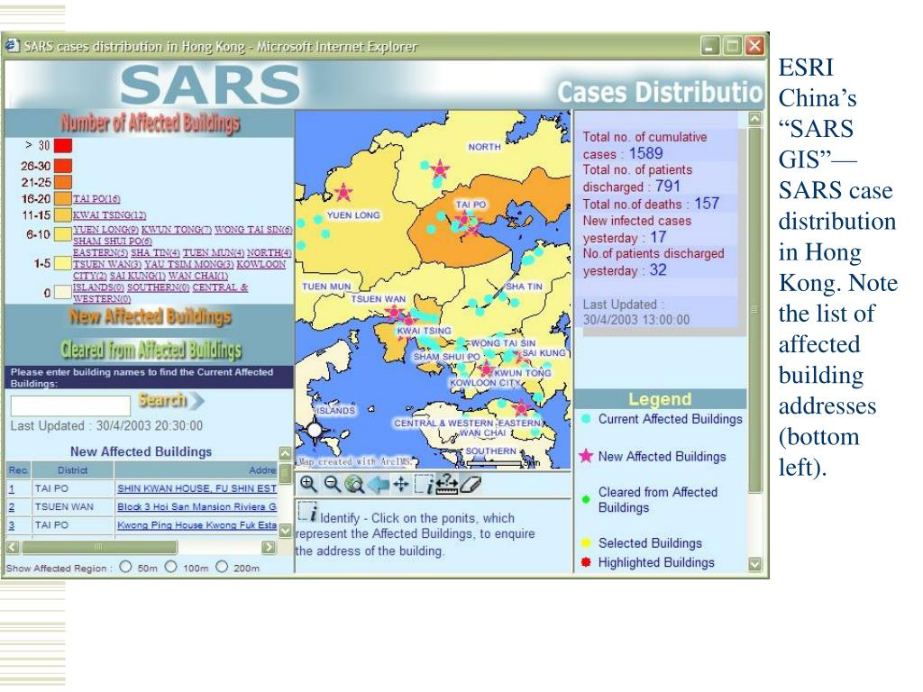 """ESRI China's """"SARS GIS""""—SARS case distribution in Hong Kong. Note the list of affected building addresses (bottom left)."""