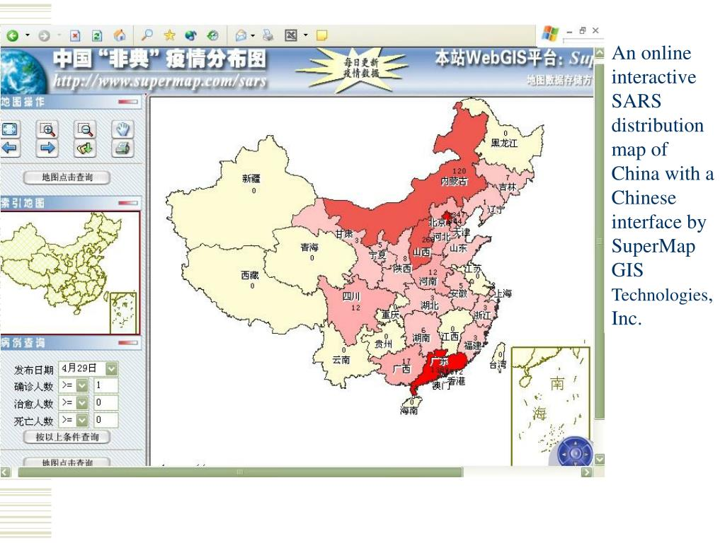 An online interactive SARS distribution map of China with a Chinese interface by SuperMap GIS