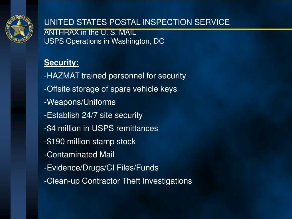 ANTHRAX in the U. S. MAIL