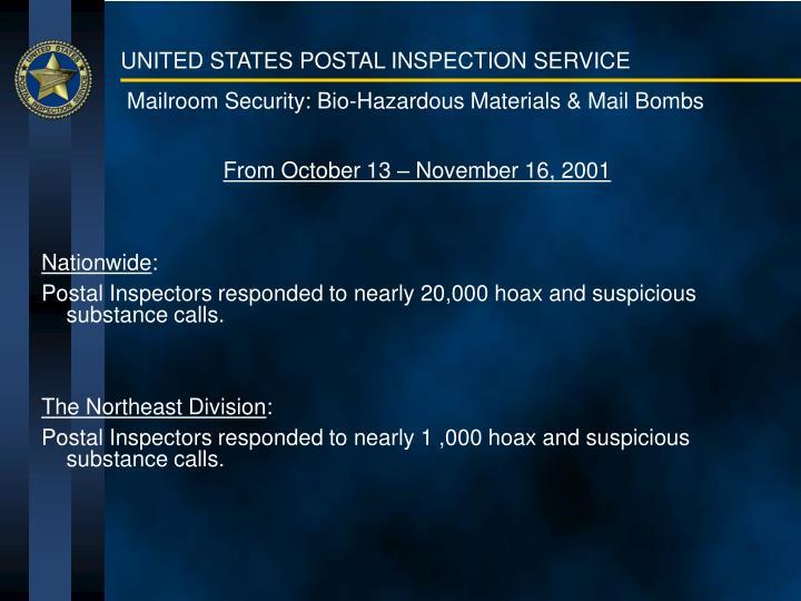 Mailroom security bio hazardous materials mail bombs