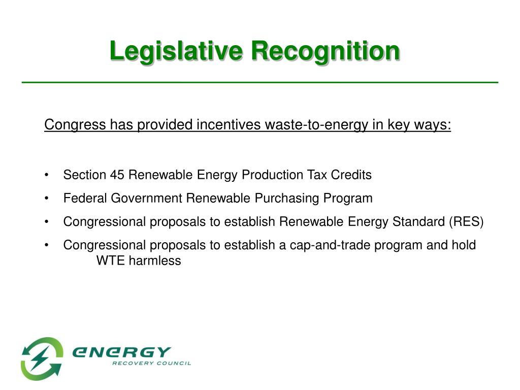 Legislative Recognition