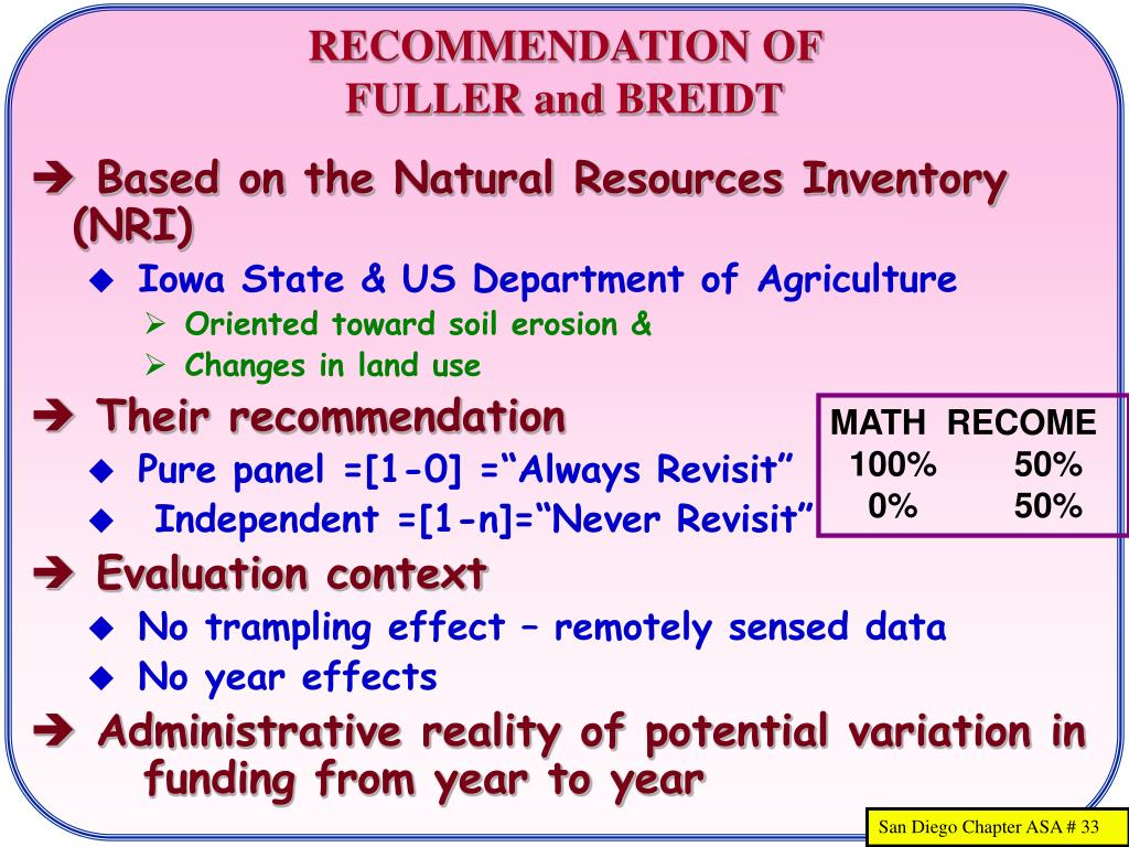 RECOMMENDATION OF