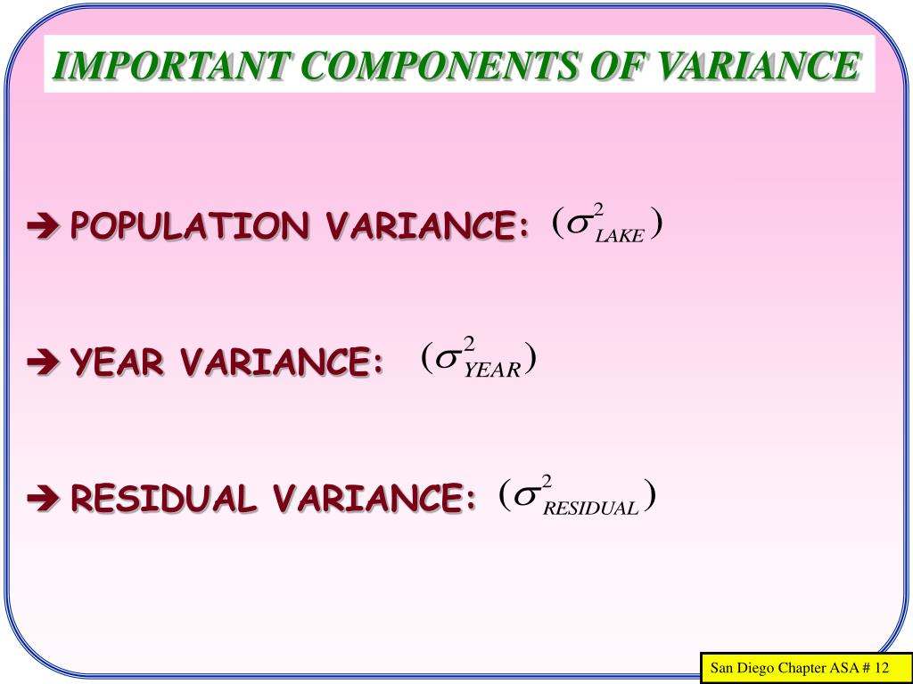 IMPORTANT COMPONENTS OF VARIANCE