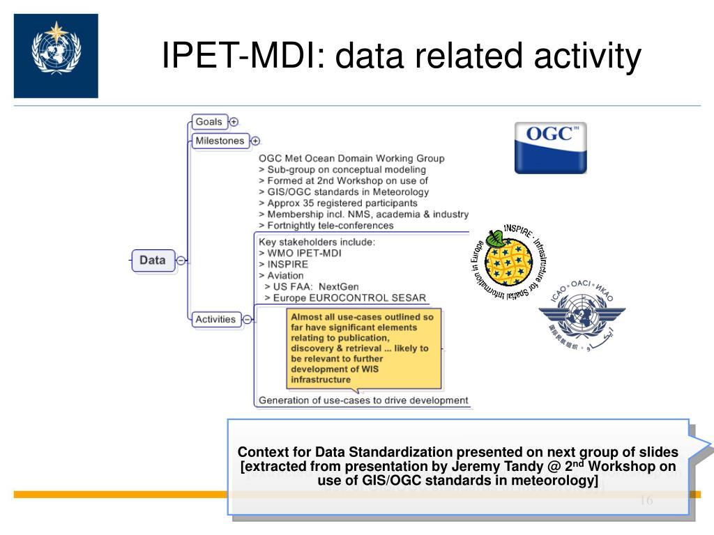 IPET-MDI: data related activity