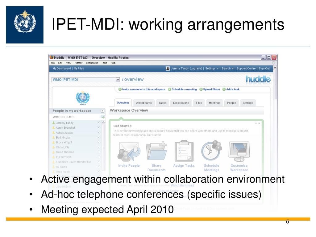 IPET-MDI: working arrangements
