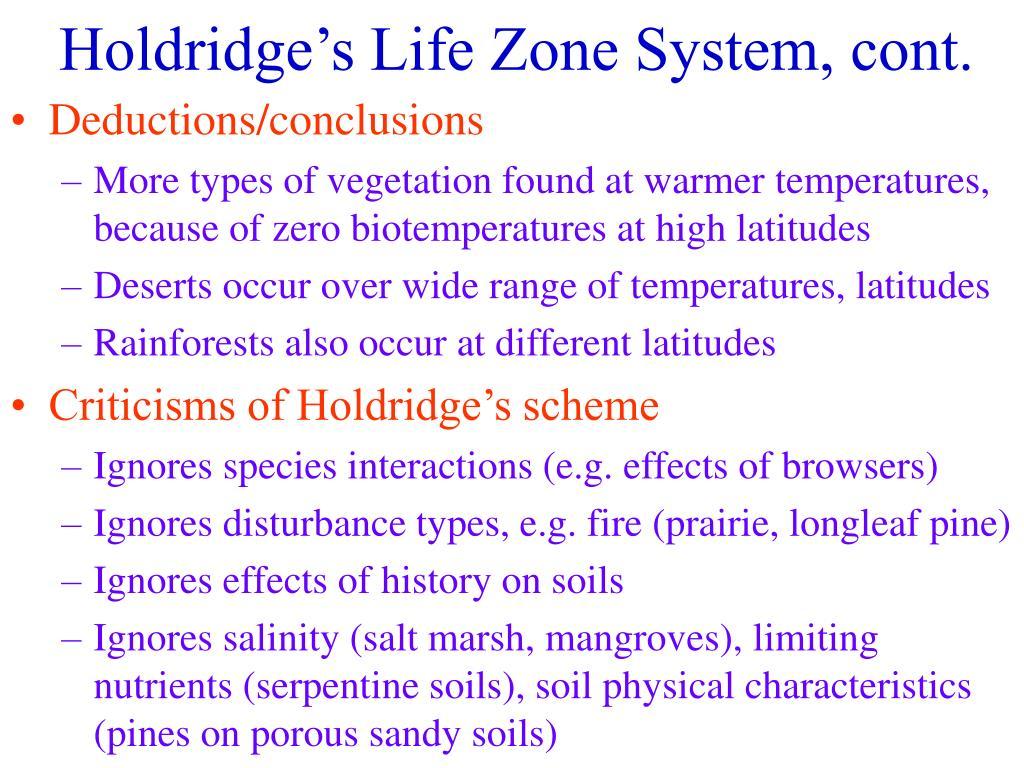 Holdridge's Life Zone System, cont.