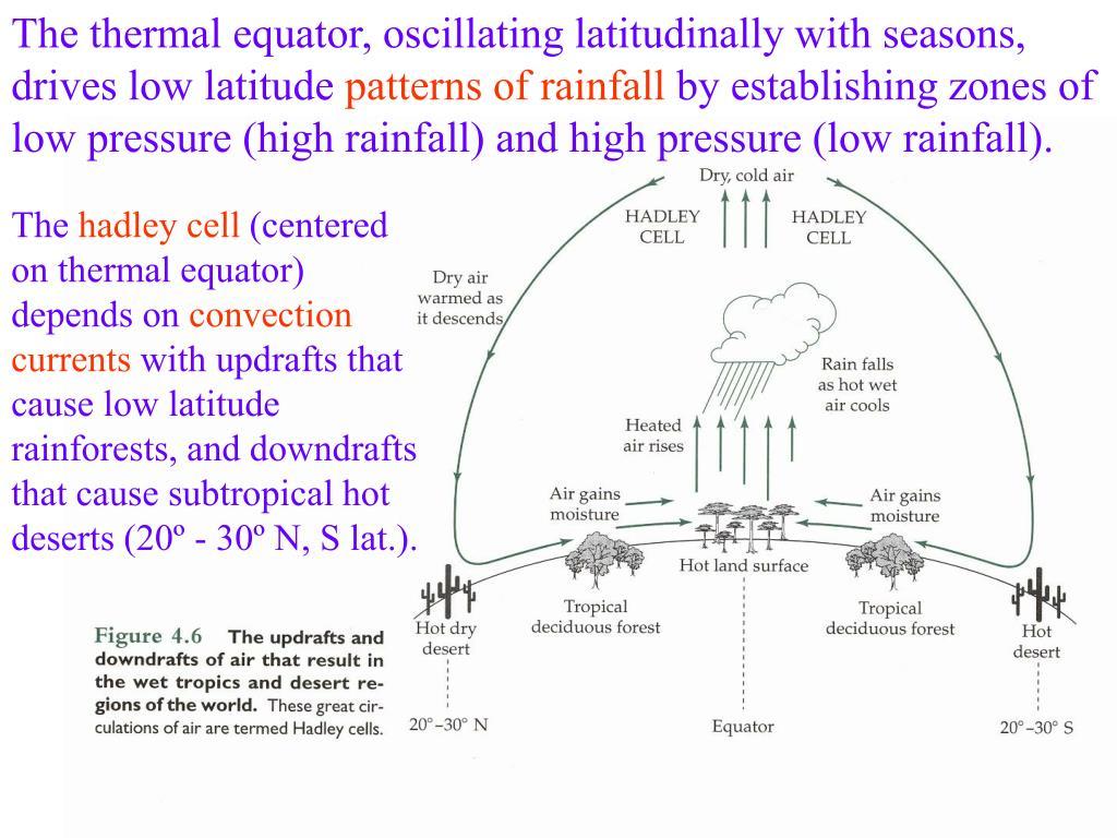 The thermal equator, oscillating latitudinally with seasons, drives low latitude