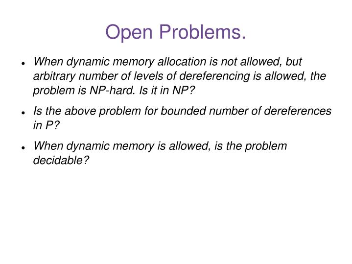 Open Problems.