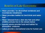 benefits of lake ecosystems