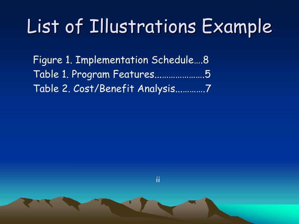 List of Illustrations Example