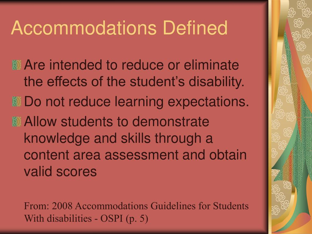 Accommodations Defined