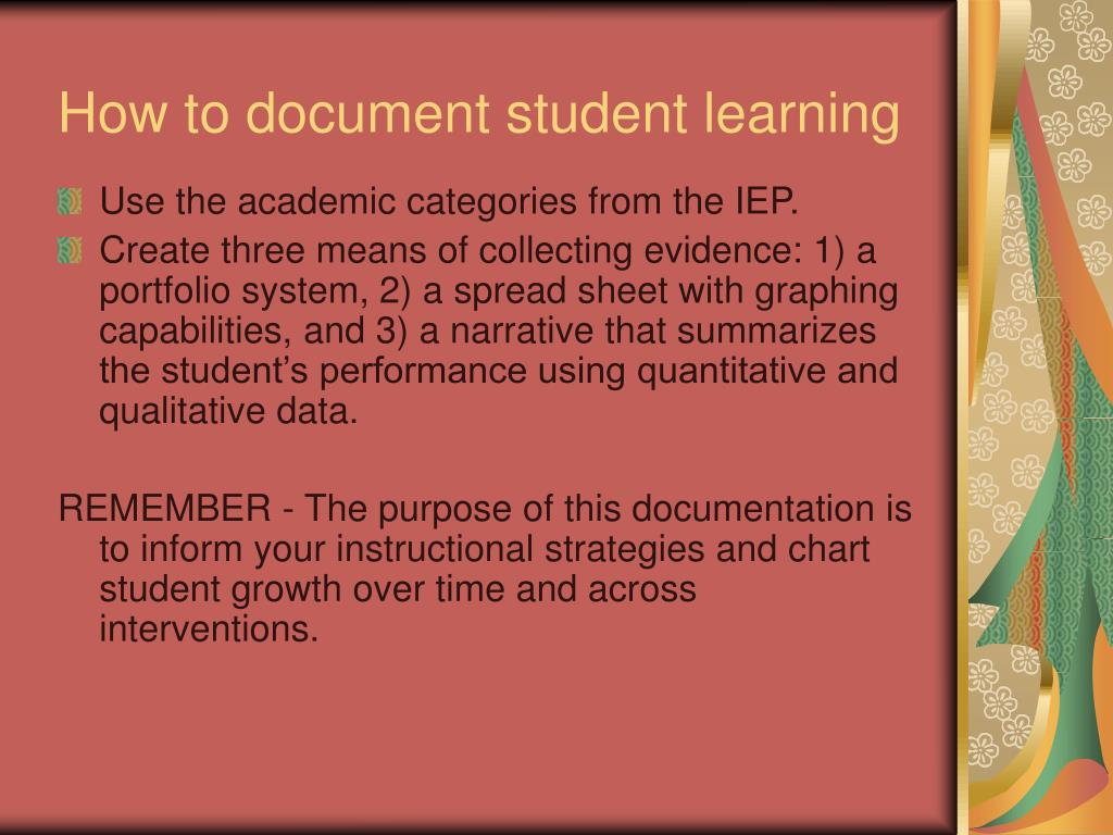 How to document student learning
