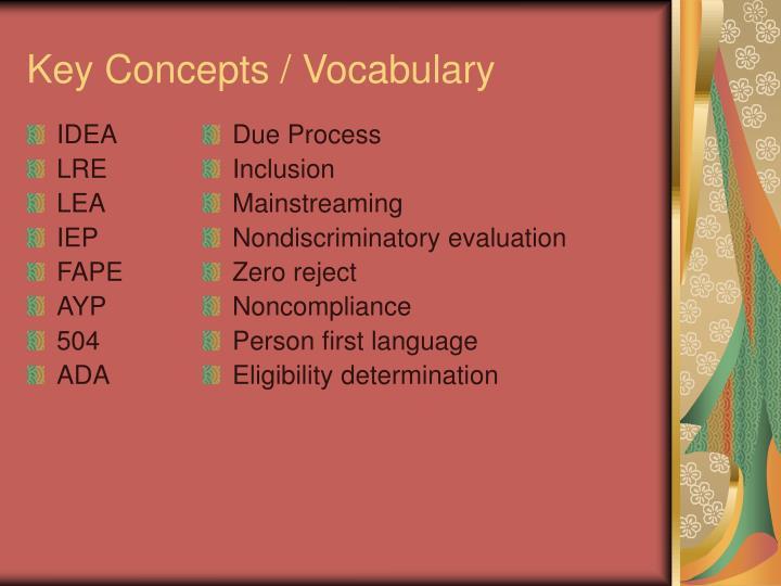 Key concepts vocabulary