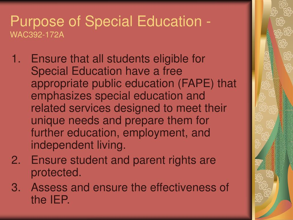 Purpose of Special Education -