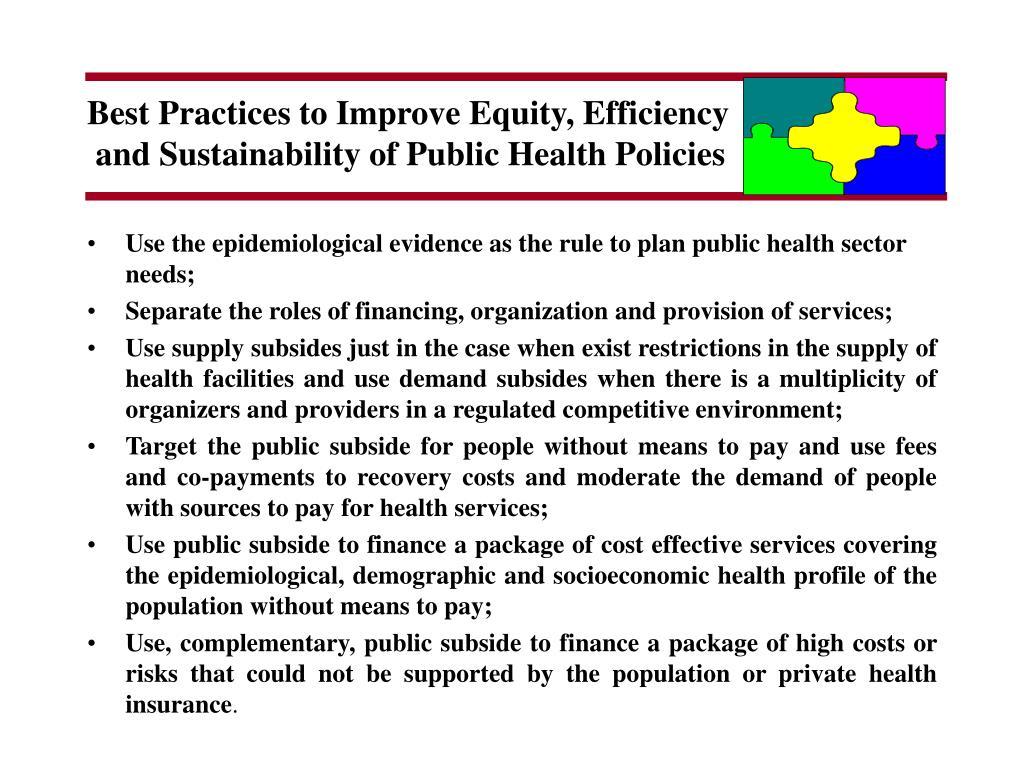 Best Practices to Improve Equity, Efficiency