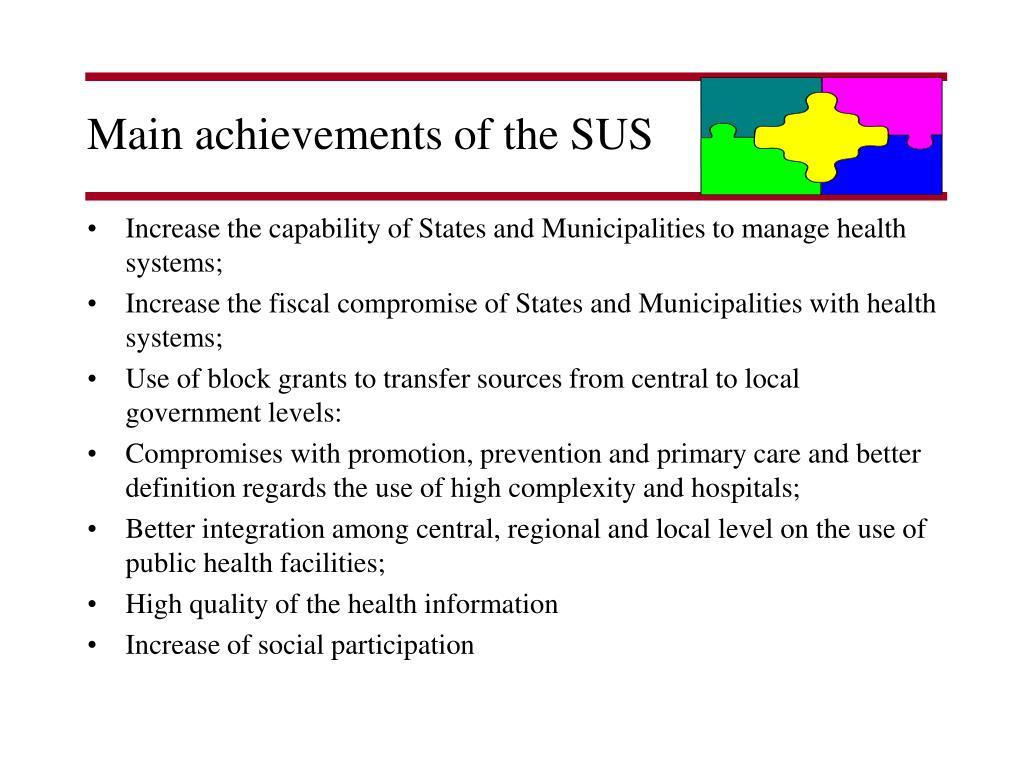 Main achievements of the SUS