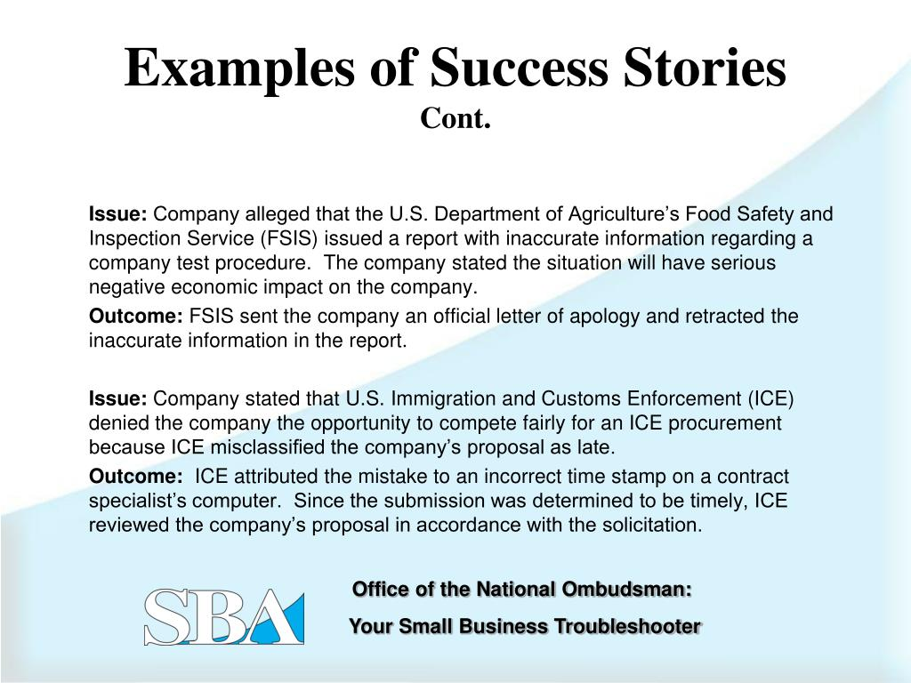 Examples of Success Stories