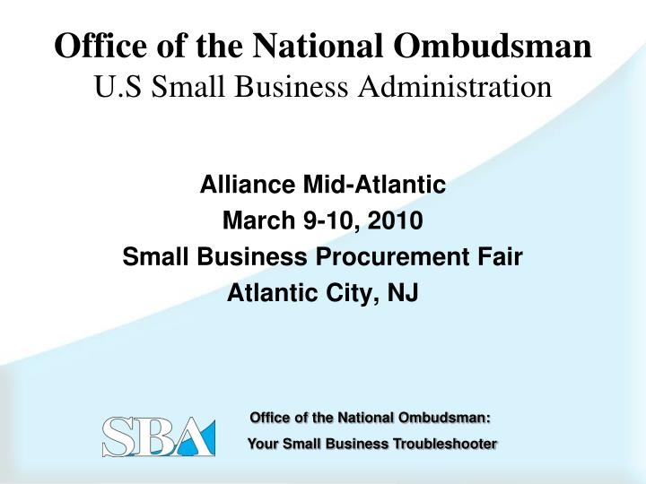 Office of the national ombudsman u s small business administration