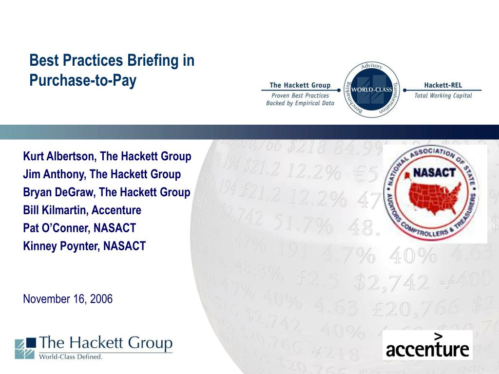 best practices briefing in purchase to pay l.
