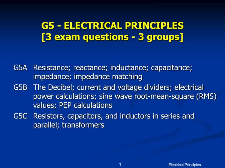 G5 electrical principles 3 exam questions 3 groups