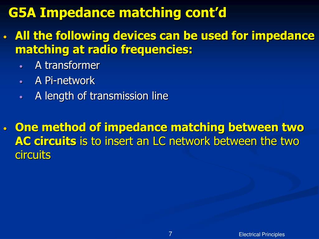 G5A Impedance matching cont'd