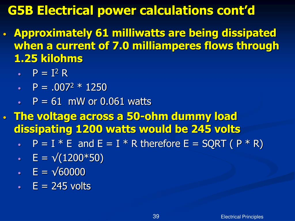 G5B Electrical power calculations cont'd